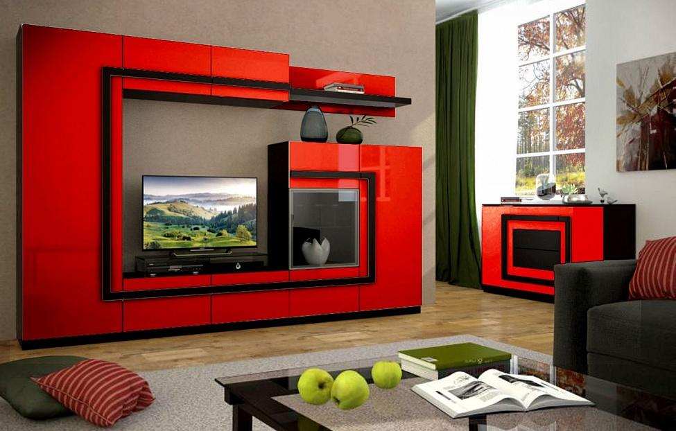 Купить Гостиная Глейс Красная в интернет магазине корпусной и мягкой мебели для дома