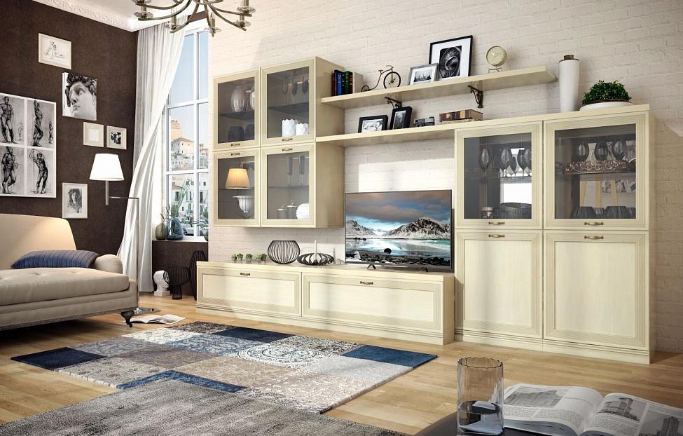 Купить Гостиная Адажио 4.3 в интернет магазине корпусной и мягкой мебели для дома