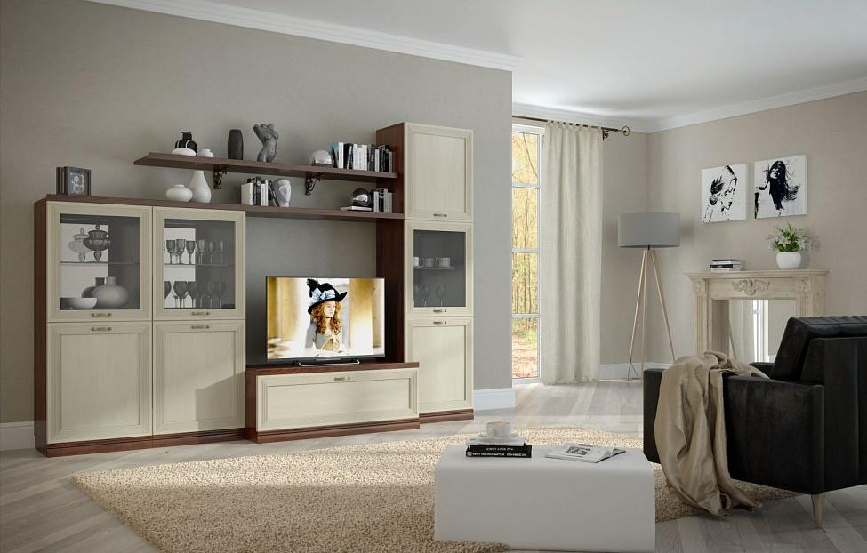 Купить Гостиная Адажио 2.4 в интернет магазине корпусной и мягкой мебели для дома