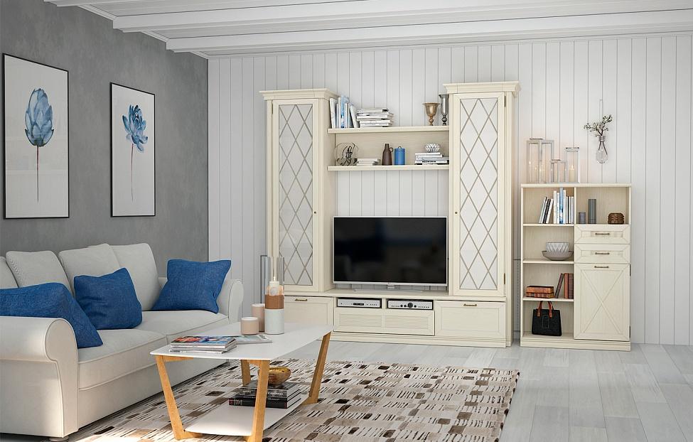 Купить Гостиная Кантри 3 в интернет магазине корпусной и мягкой мебели для дома