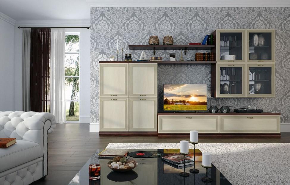 Купить Гостиная Адажио 1.4 в интернет магазине корпусной и мягкой мебели для дома