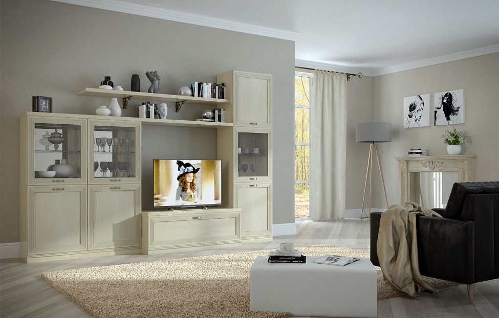 Купить Гостиная Адажио 2.3 в интернет магазине корпусной и мягкой мебели для дома