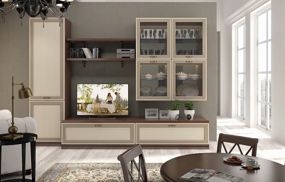 Купить Гостиная Адажио 7.2 в интернет магазине корпусной и мягкой мебели для дома