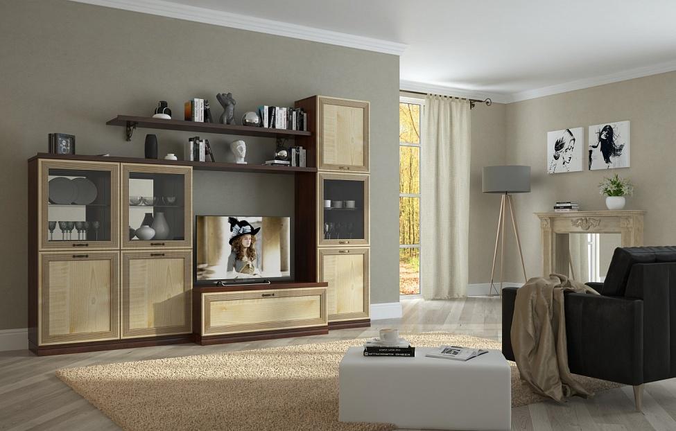 Купить Гостиная Адажио 2.2 в интернет магазине корпусной и мягкой мебели для дома